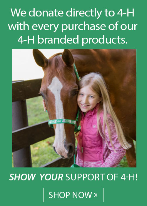 We donate directly to 4-H with every purchase of our 4-H branded products. Show your support of 4-H! Shop Now!