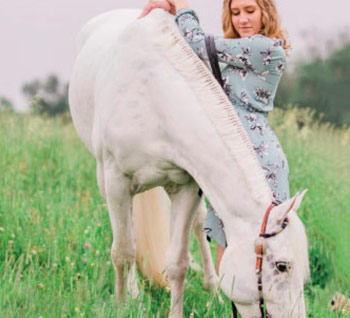 woman and pony