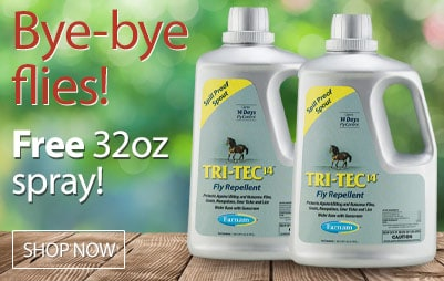 Free 32oz. with purchase of Farnam Tri-Tec 14 Fly Repellent gallon 2-pack! Shop Now!